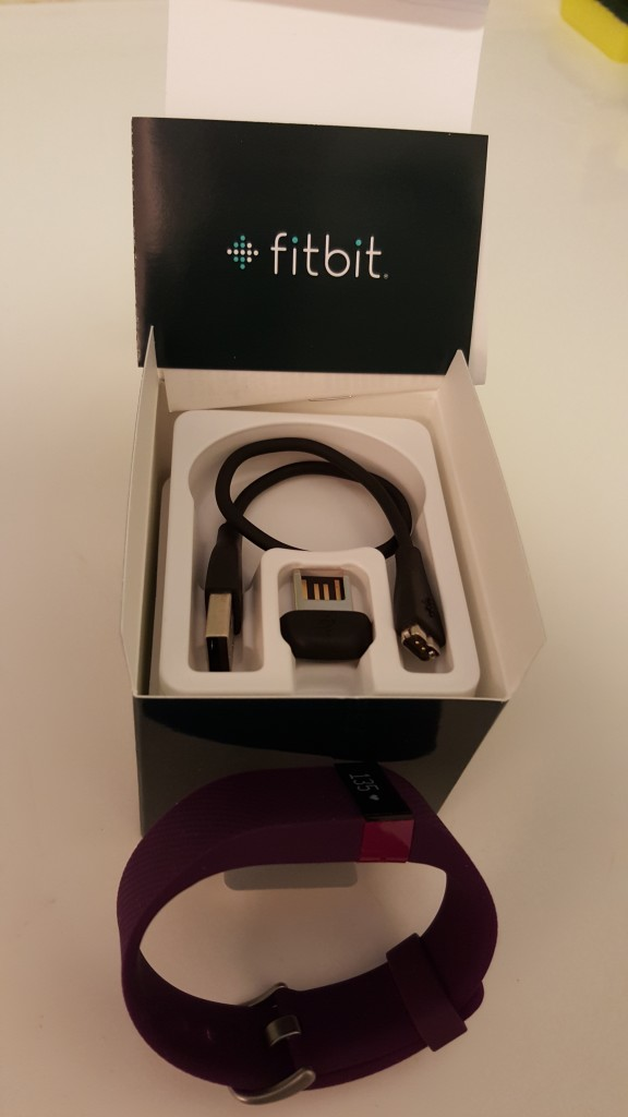 FitBit Charge HR Box Open with Bluetooth dongle and USB charge cable and manual