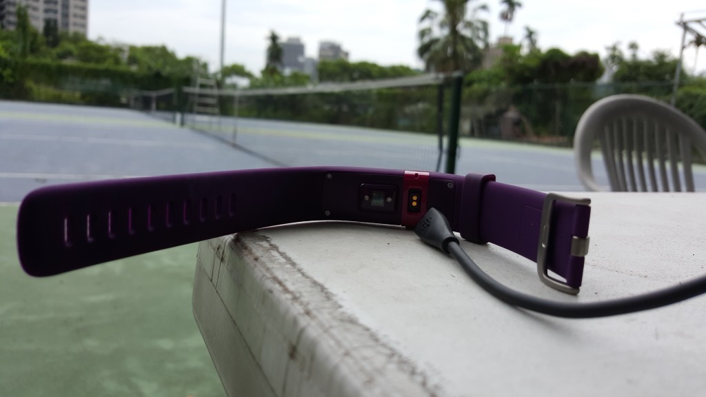 FitBit Charge HR with USB Charge Cable unplugged taken at BiiNa Tennis Courts in Taipei Taiwan