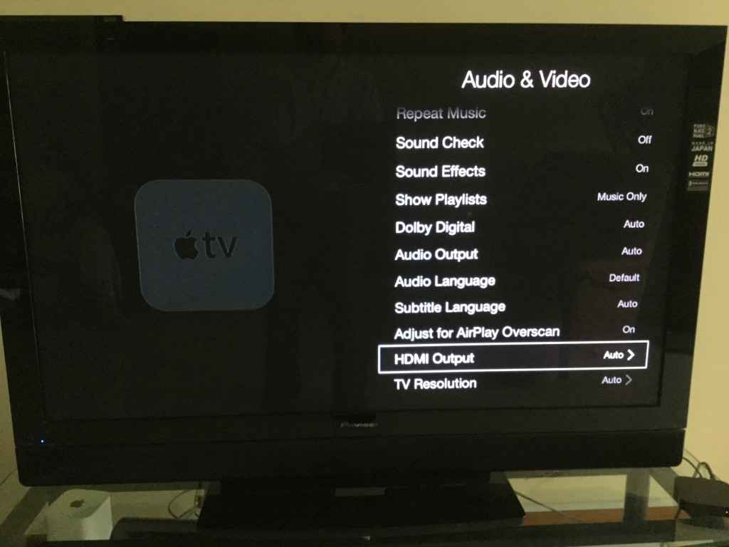 Apple TV change video resolution menu