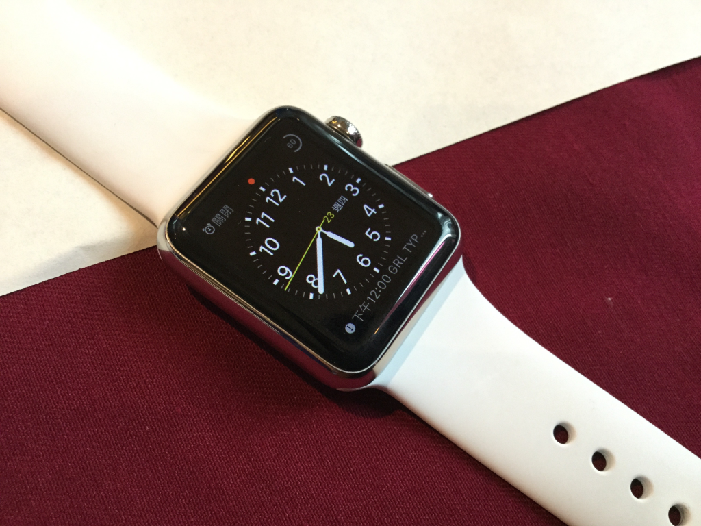 Apple White iWatch Dark Red and White background in Taiwan