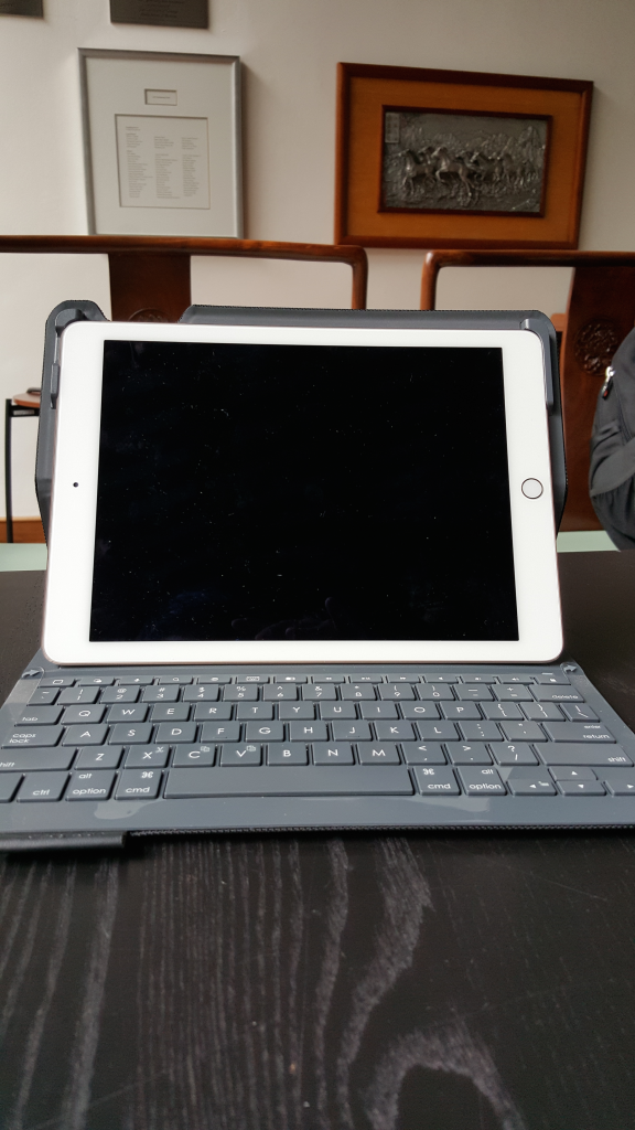 Logitech Type+ with Apple iPad Air 2 front view in Chicago Booth Singapore