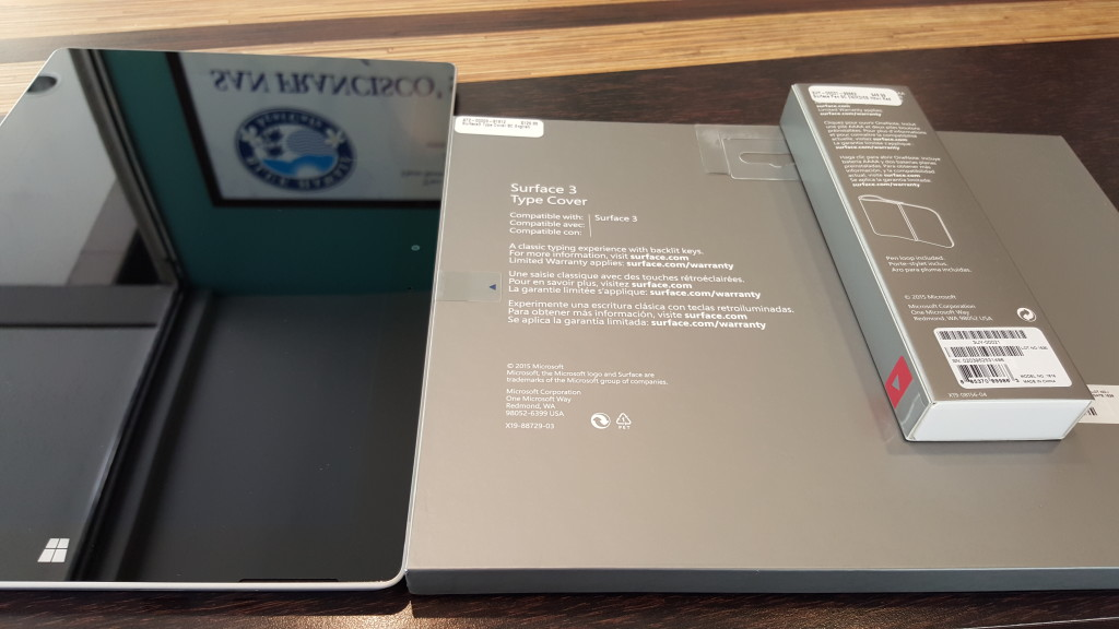 Microsoft Surface 3 with Type Cover and Pen Boxes back at Blue Hawaii Acai Cafe San Francisco California