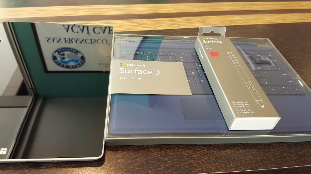 Microsoft Surface 3 with Type Cover and Pen Boxes front at Blue Hawaii Acai Cafe San Francisco California