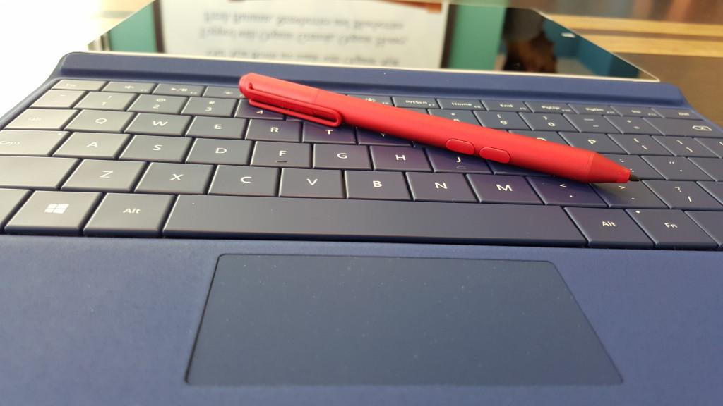 Microsoft Surface 3 with Type Cover and Pen at Blue Hawaii Acai Cafe San Francisco California Macro shot