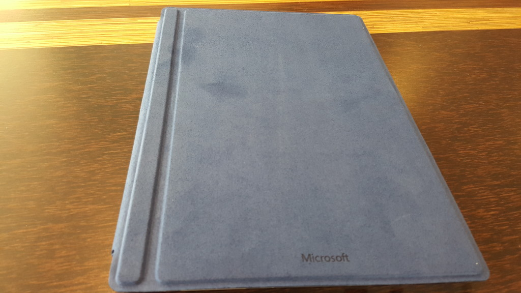 Microsoft Surface 3 with Type Cover closed at Blue Hawaii Acai Cafe San Francisco California