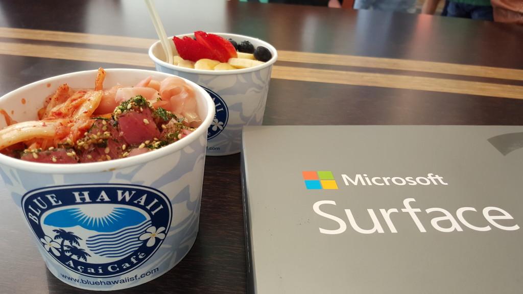 Poke and Acai bowl with Microsoft Surface 3 at Blue Hawaii Acai Cafe San Francisco California