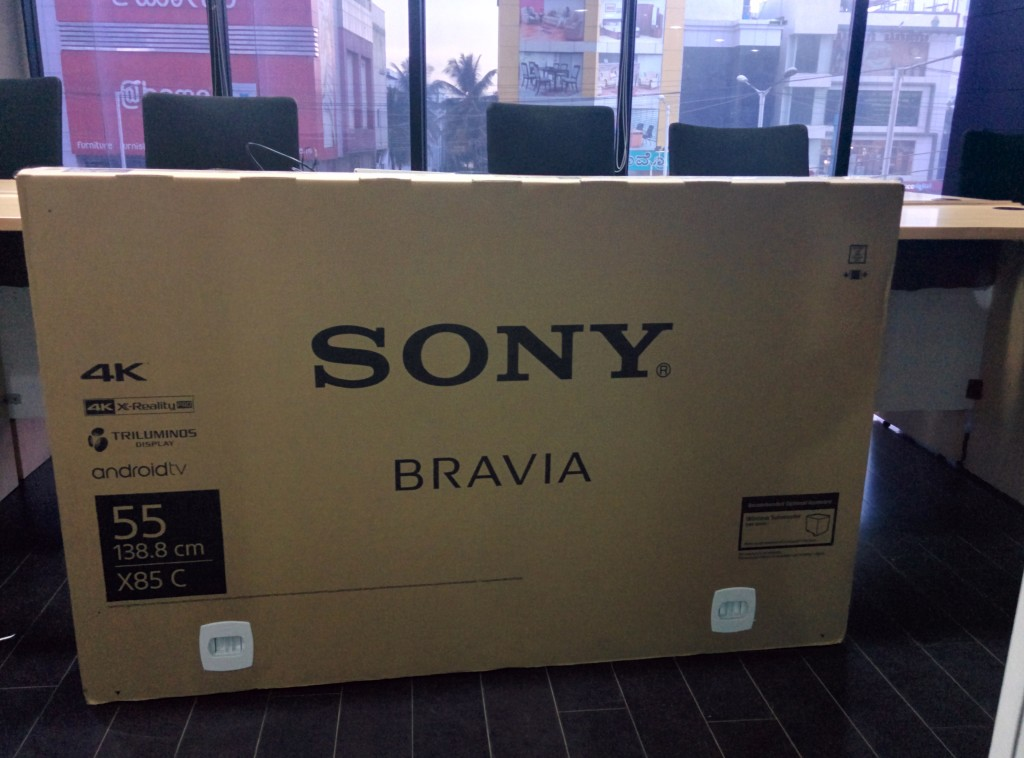 Sony 4K TV box front view