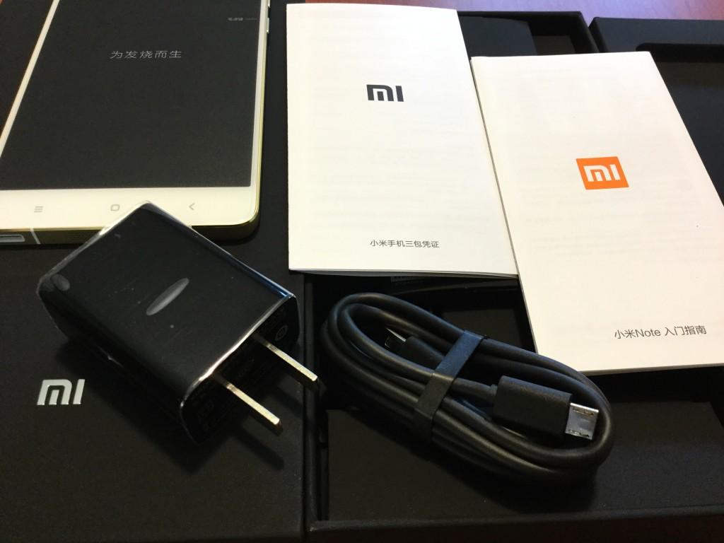 Xiaomi Mi Note Pro unboxing items