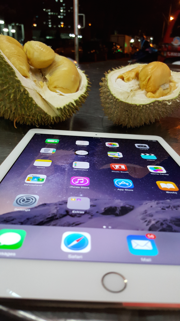 iPad Air 2 with durian halves in Penang Malaysia