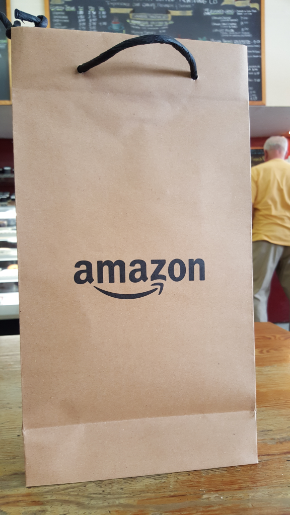 Amazon Store Bag in Mission Coffee Fremont California