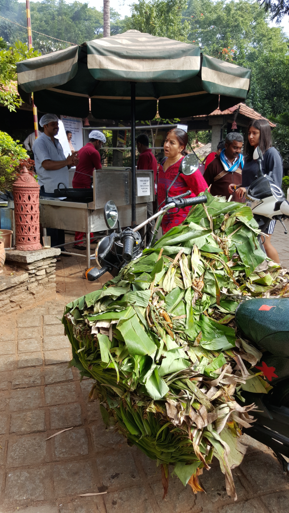 Banana leaf transport on motorcycle at restaurant between Mysore and Bangalore