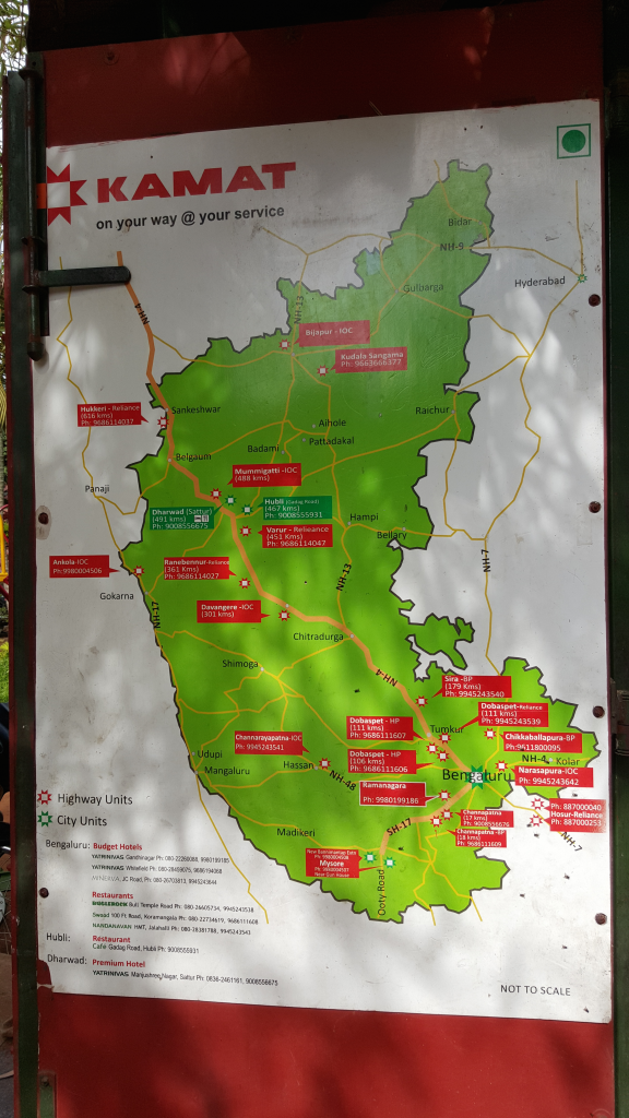 Map of Restaurant between MySore and Bangalore