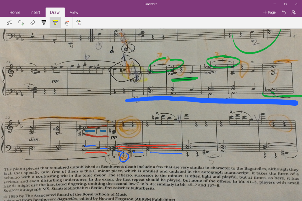 Microsoft Surface 3 One Note using Surface Pen Music Note Notations