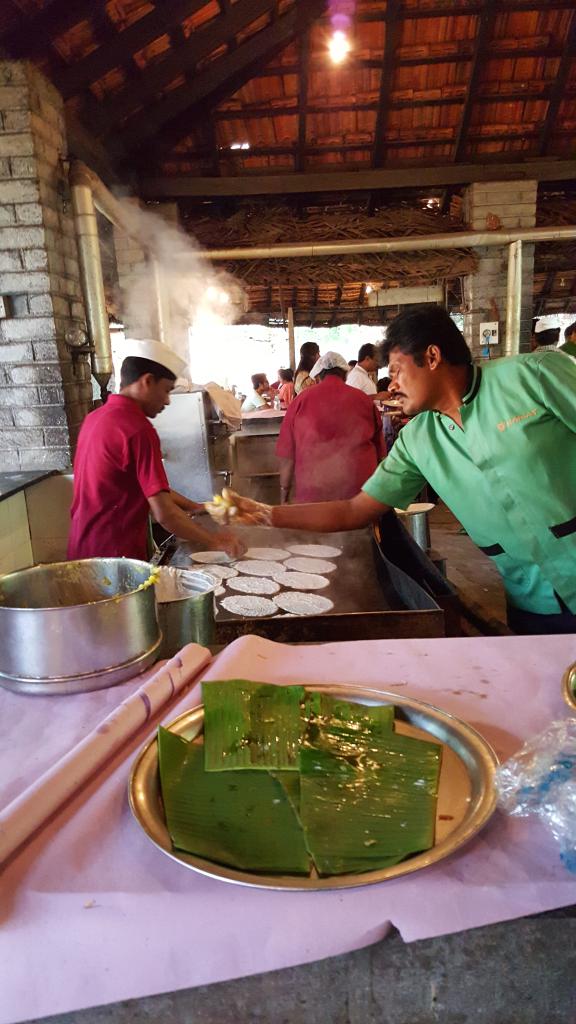 Restaurant between Mysore and Bangalore making breakfast