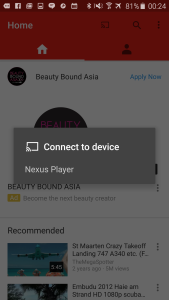 Samsung Galaxy S6 Edge with Asus Nexus Player use YouTube to connect-1