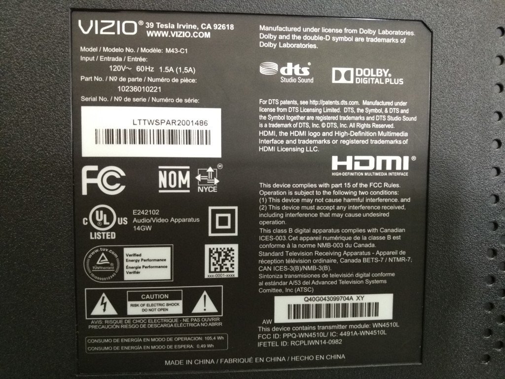 Vizio M-Series 4K Ultra HD Smart TV Back Model Label