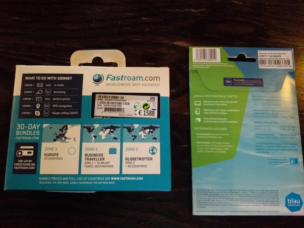 Fastroam ZTE WiFi Hotspot router and Blau SIM card back