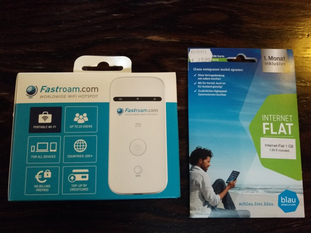 Fastroam ZTE WiFi Hotspot router and Blau SIM card front
