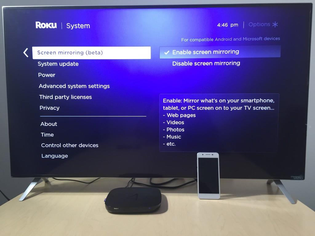 vizio tv screen. micromax_canvas_2_roku_vizio_miracast_setup screen 1 vizio tv
